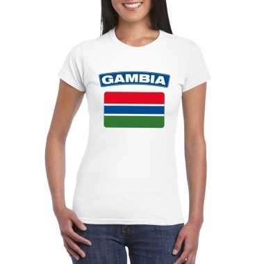 T-shirt wit gambia vlag wit dames