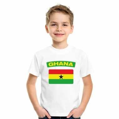 T-shirt wit ghana vlag wit jongens en meisjes