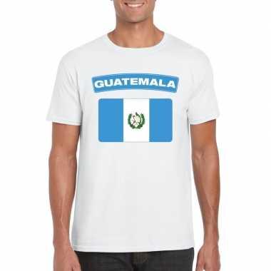 T-shirt wit guatemala vlag wit heren