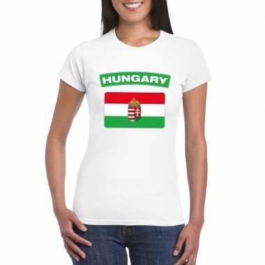 T-shirt wit hongarije vlag wit dames