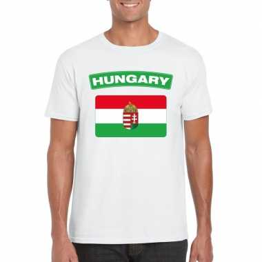 T-shirt wit hongarije vlag wit heren