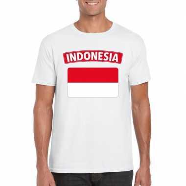 T-shirt wit indonesie vlag wit heren