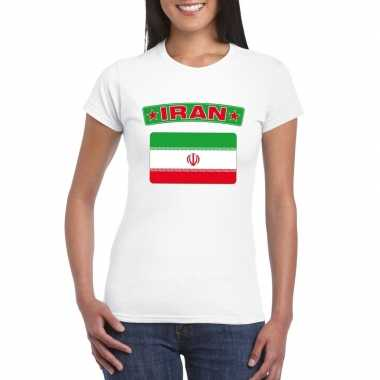 T-shirt wit iran vlag wit dames