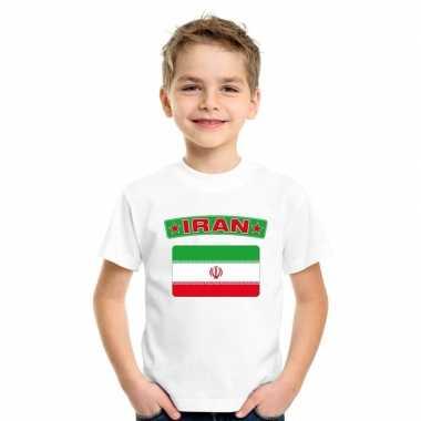 T-shirt wit iran vlag wit jongens en meisjes