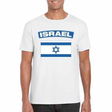 T-shirt wit israel vlag wit heren