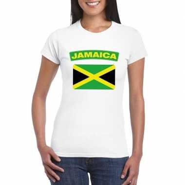 T-shirt wit jamaica vlag wit dames