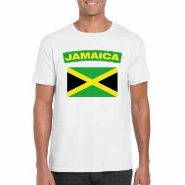 T-shirt wit jamaica vlag wit heren