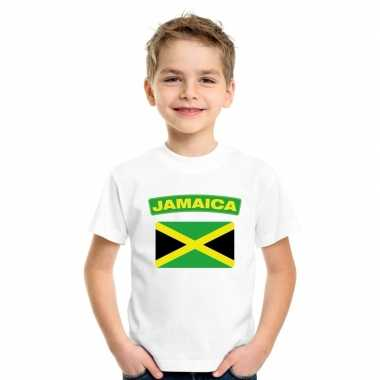 T-shirt wit jamaica vlag wit jongens en meisjes