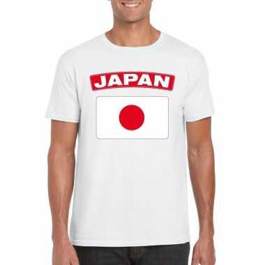 T-shirt wit japan vlag wit heren