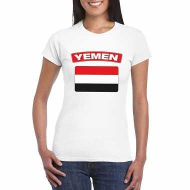 T-shirt wit jemen vlag wit dames