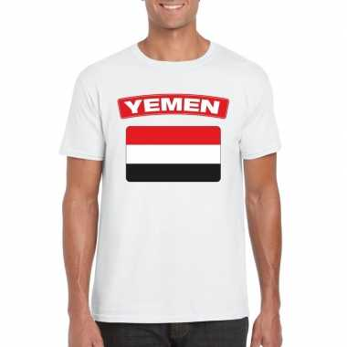T-shirt wit jemen vlag wit heren