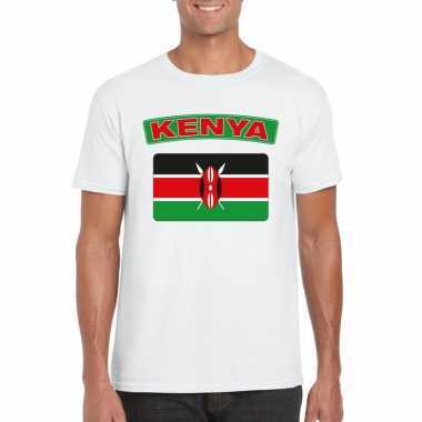 T-shirt wit kenia vlag wit heren