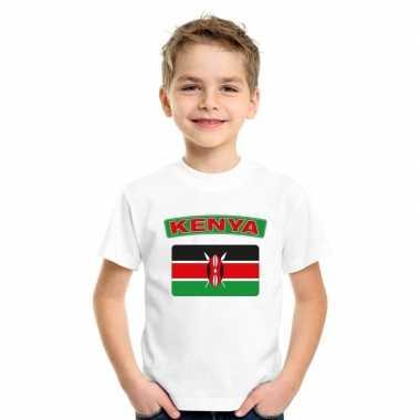 T-shirt wit kenia vlag wit jongens en meisjes