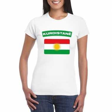T-shirt wit koerdistan vlag wit dames