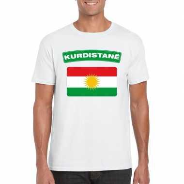 T-shirt wit koerdistan vlag wit heren