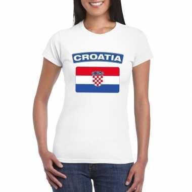 T-shirt wit kroatie vlag wit dames