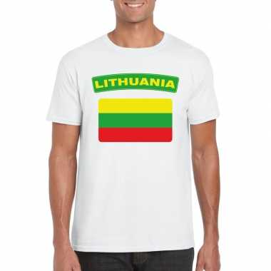T-shirt wit litouwen vlag wit heren