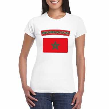 T-shirt wit marokko vlag wit dames