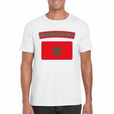 T-shirt wit marokko vlag wit heren
