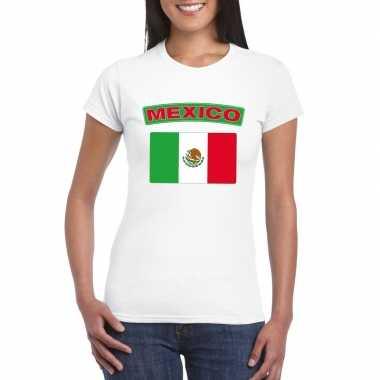 T-shirt wit mexico vlag wit dames