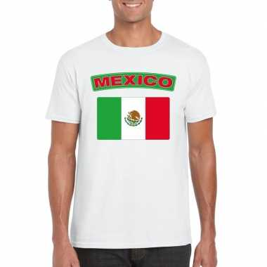 T-shirt wit mexico vlag wit heren