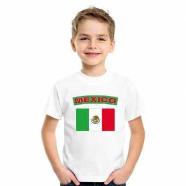 T-shirt wit mexico vlag wit jongens en meisjes