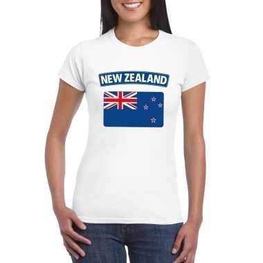 T-shirt wit nieuw zeeland vlag wit dames