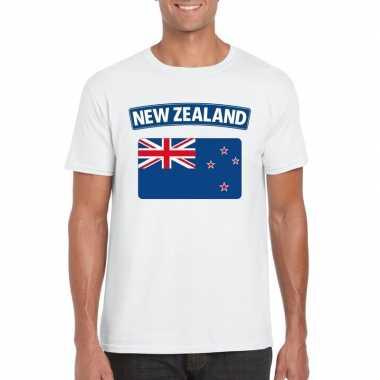 T-shirt wit nieuw zeeland vlag wit heren