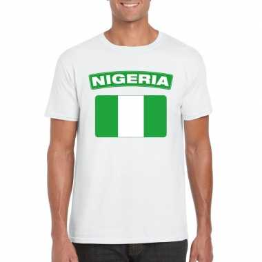 T-shirt wit nigeria vlag wit heren