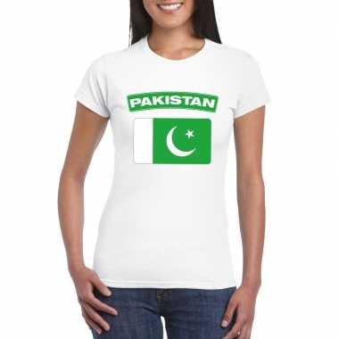 T-shirt wit pakistan vlag wit dames