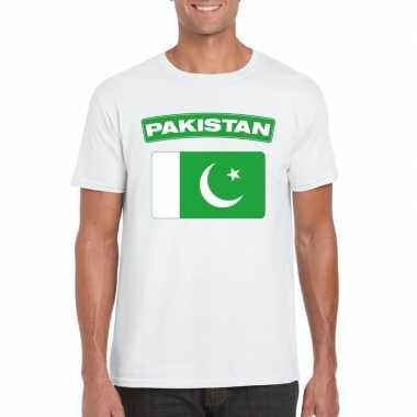 T-shirt wit pakistan vlag wit heren