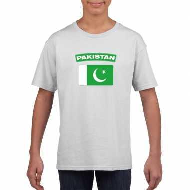 T-shirt wit pakistan vlag wit jongens en meisjes
