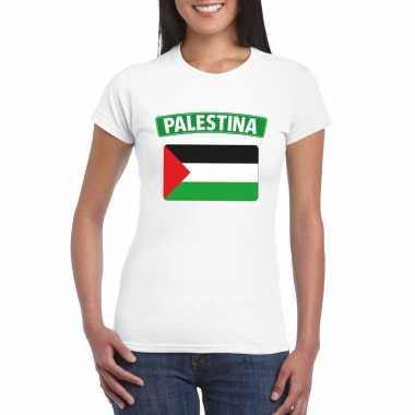 T-shirt wit palestina vlag wit dames