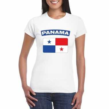 T-shirt wit panama vlag wit dames
