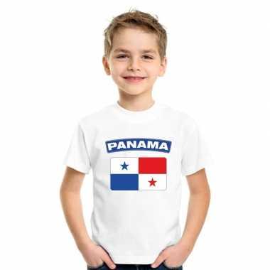 T-shirt wit panama vlag wit jongens en meisjes
