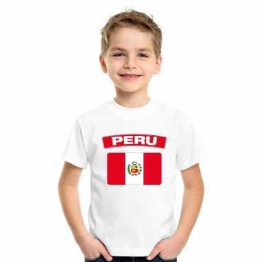T-shirt wit peru vlag wit jongens en meisjes