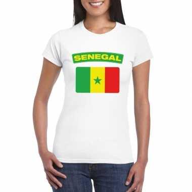 T-shirt wit senegal vlag wit dames