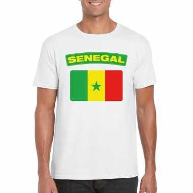 T-shirt wit senegal vlag wit heren