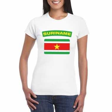 T-shirt wit suriname vlag wit dames