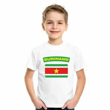 T-shirt wit suriname vlag wit jongens en meisjes