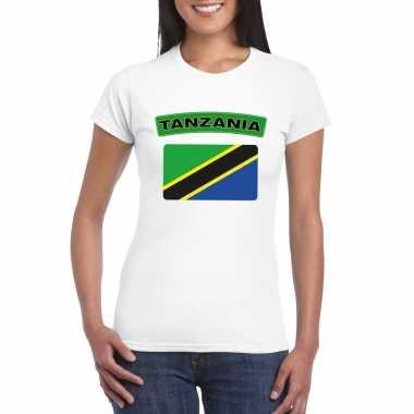 T-shirt wit tanzania vlag wit dames