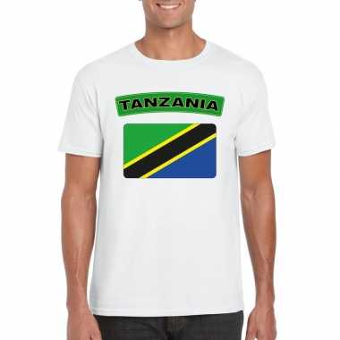 T-shirt wit tanzania vlag wit heren