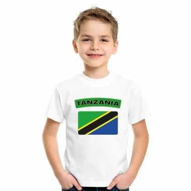 T-shirt wit tanzania vlag wit jongens en meisjes