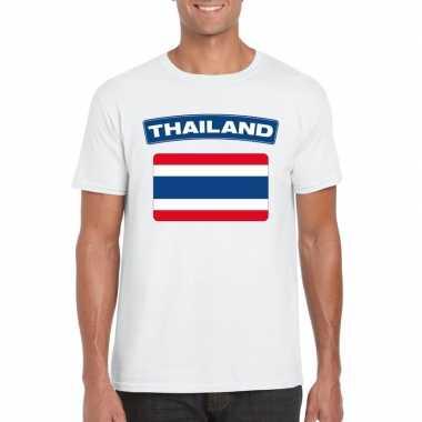 T-shirt wit thailand vlag wit heren