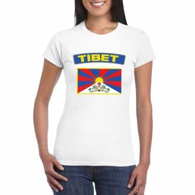 T-shirt wit tibet vlag wit dames