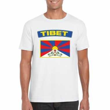T-shirt wit tibet vlag wit heren