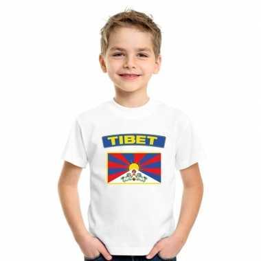 T-shirt wit tibet vlag wit jongens en meisjes