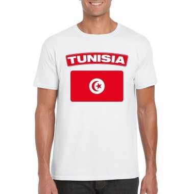 T-shirt wit tunesie vlag wit heren