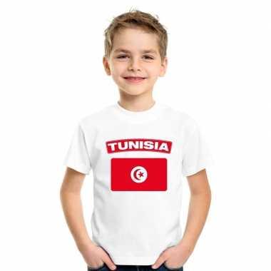 T shirt wit tunesie vlag wit jongens en meisjes