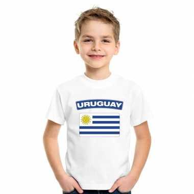 T-shirt wit uruguay vlag wit jongens en meisjes